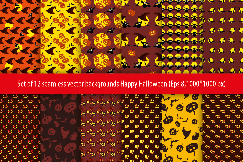 Set of 12 seamless vector backgrounds Happy Halloween.  example image 5