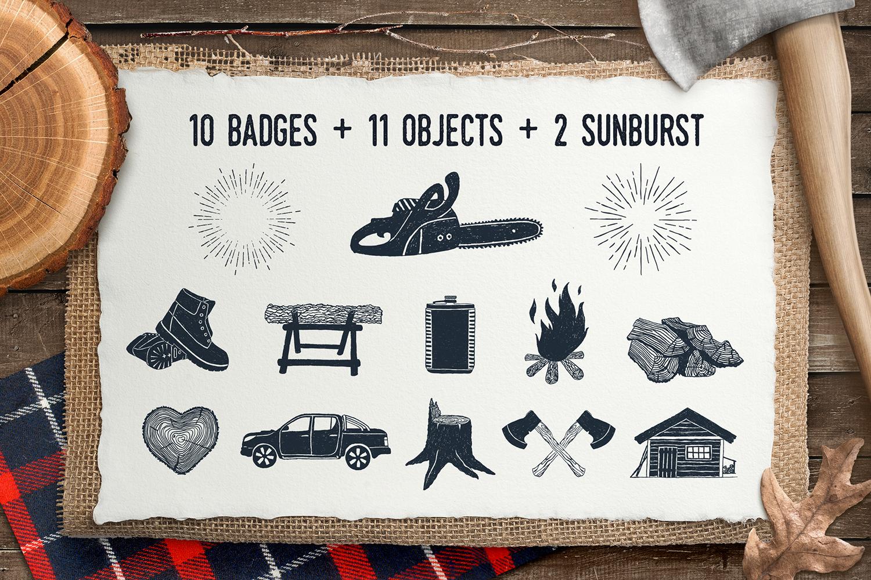 Lumberjack. Vintage Badges (part 1) example image 3
