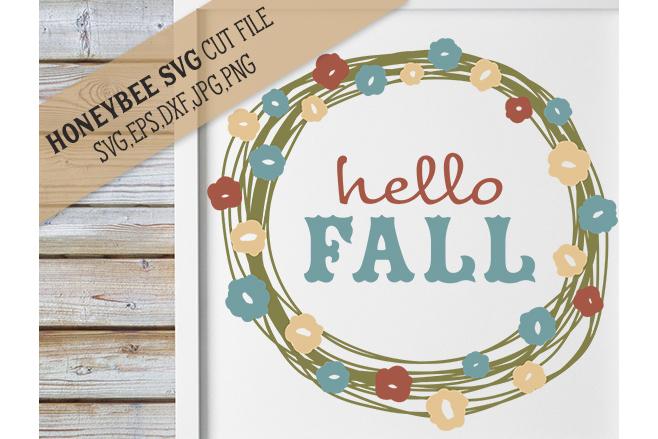 Hello Fall Pretty Wreath svg example image 1