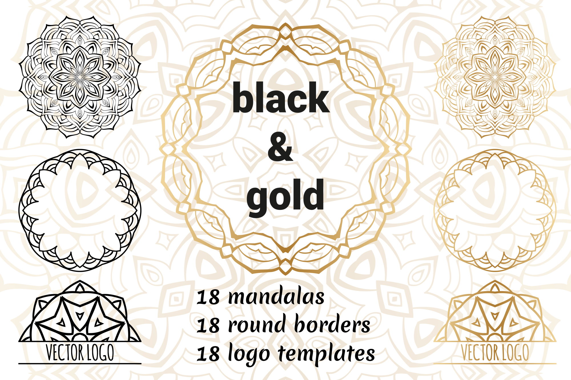 Set of decorative elements. Black and gold example image 1