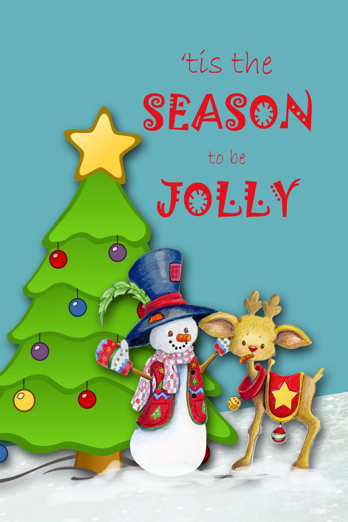 Digital Snowman Christmas Card, Printable Digital ...