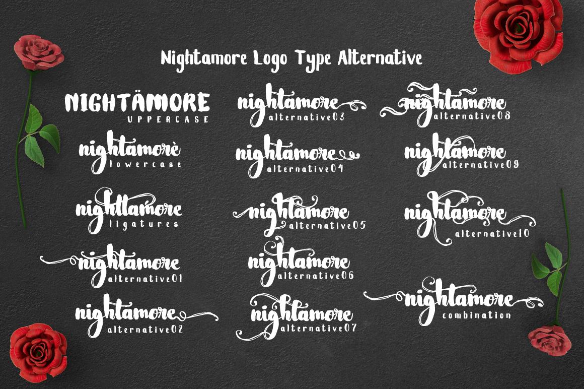 Nightamore Brush Calligraphy (Bonus Font) example image 4