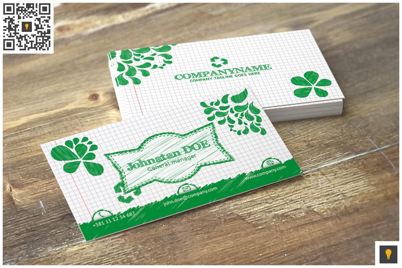 Sketch Modern Business Card Green