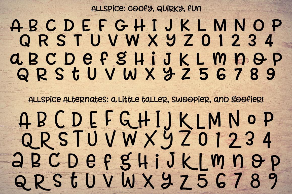 Allspice: alphabet and alternate alphabet