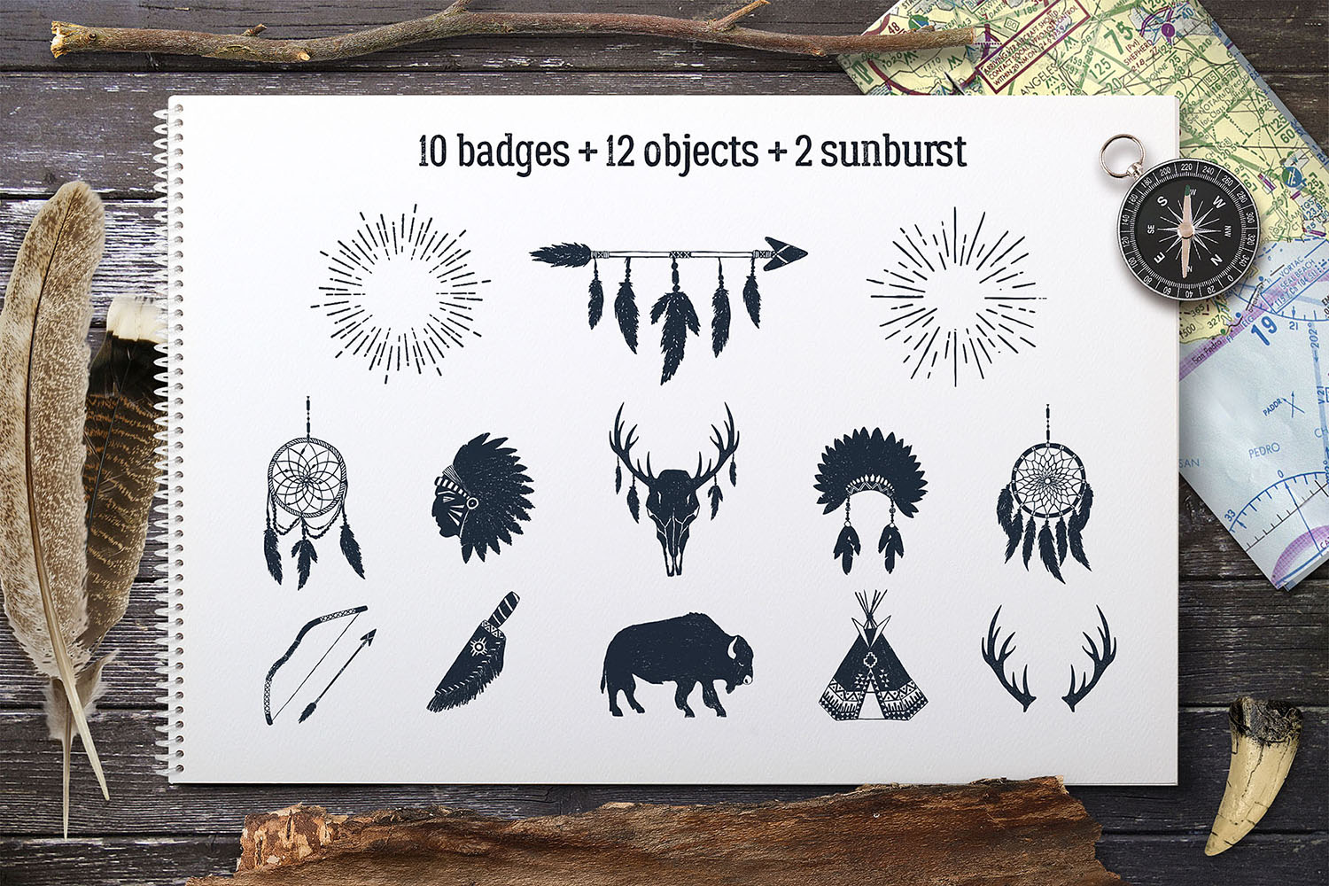 Wild at Heart. Native American Vintage Badges. Vol.2 example image 3
