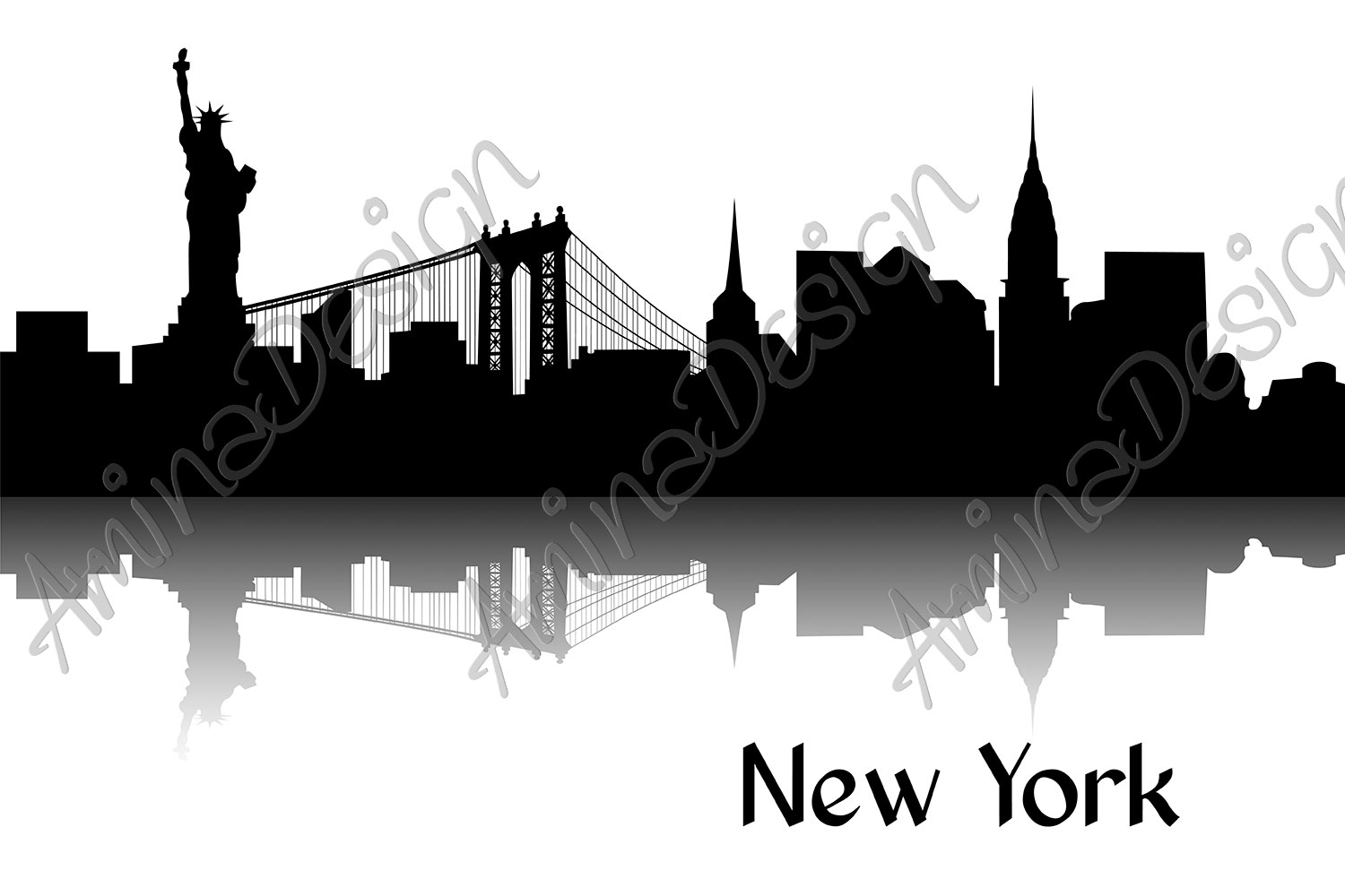 Silhouette of New York example image 1