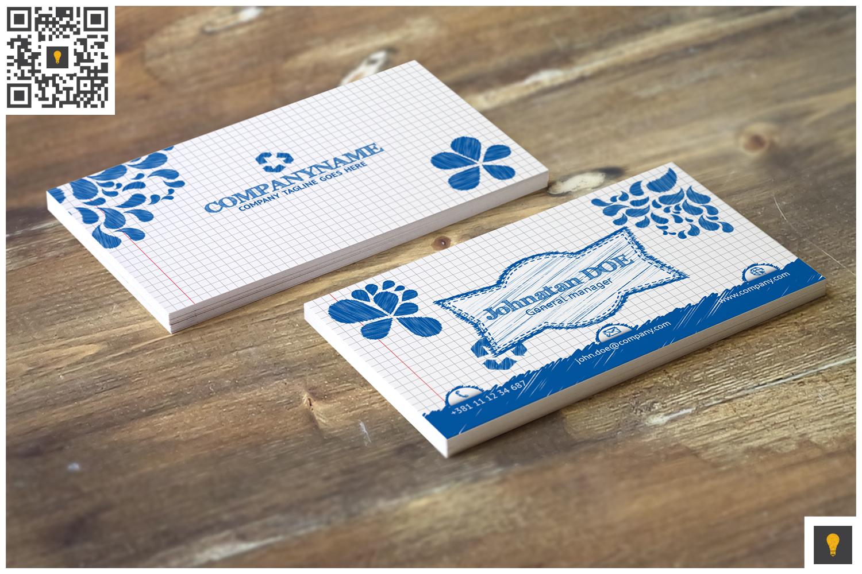 Sketch Modern Business Card Blue