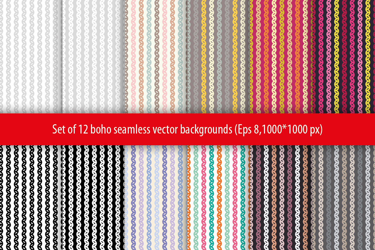 Set of 12 boho seamless vector backgrounds.  example image 7