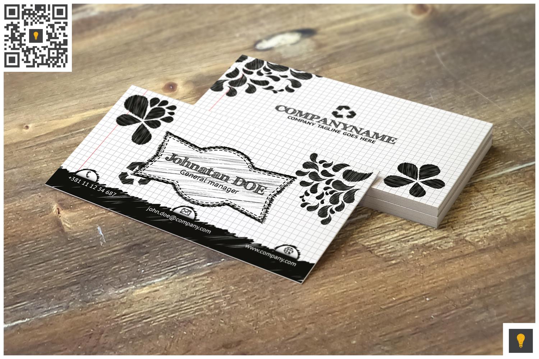 Sketch Modern Business Card Black