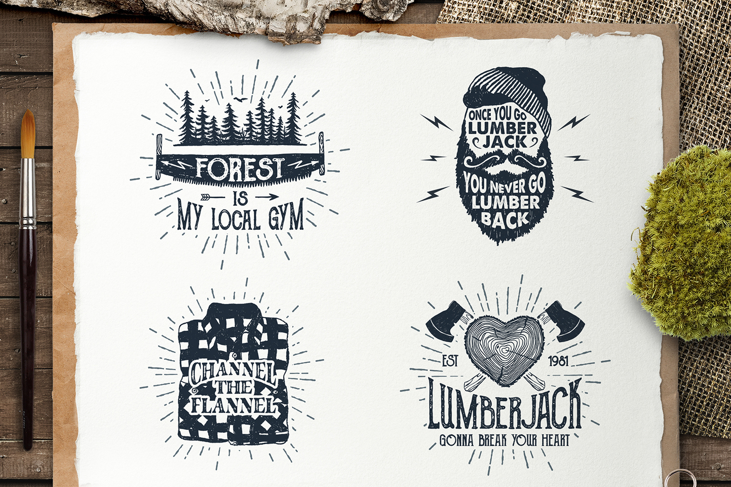 Lumberjack. Vintage Badges (part 2) example image 4