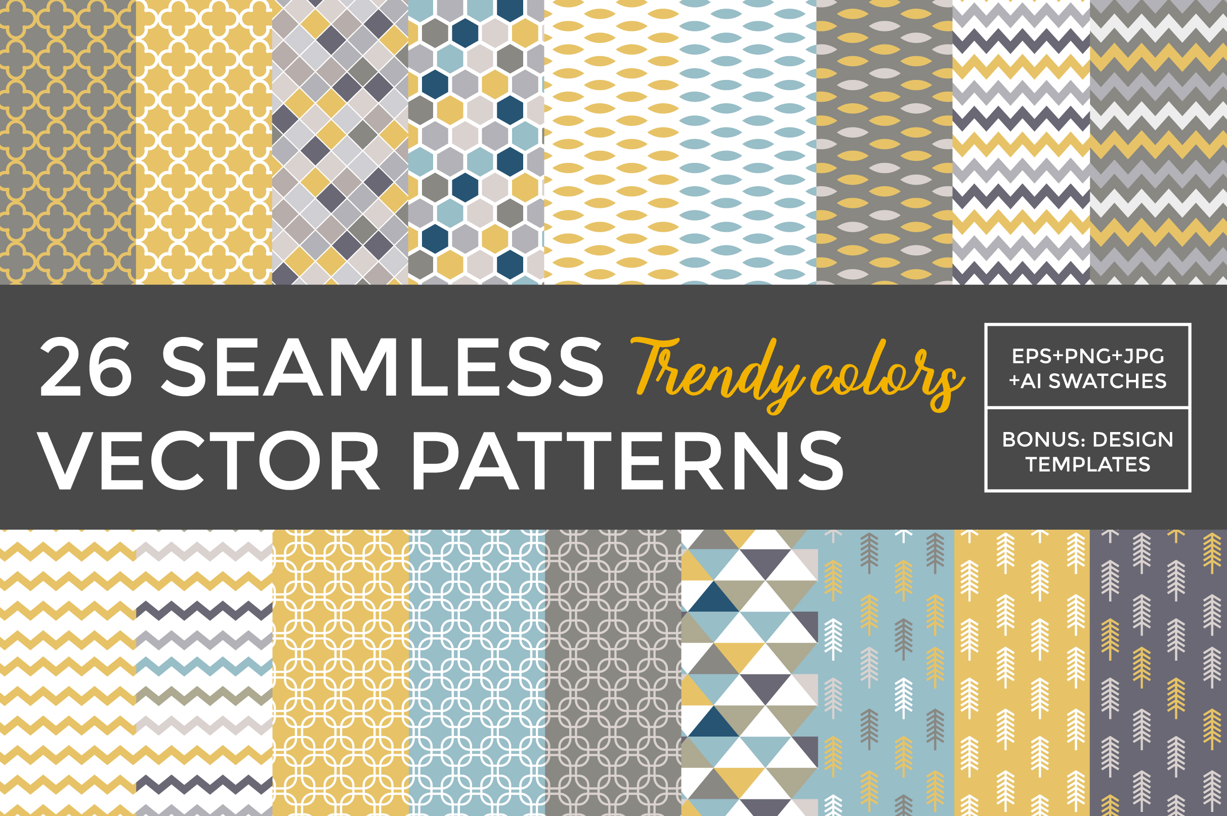 26 vector patterns Trendy Colors example image 1