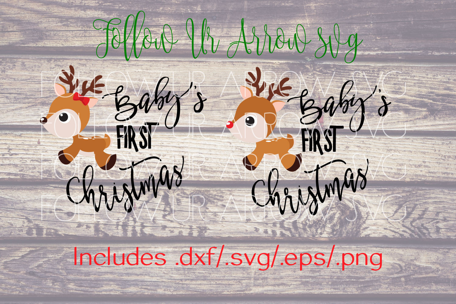 Baby's First Christmas Girl and Boy Reindeer  example image 3