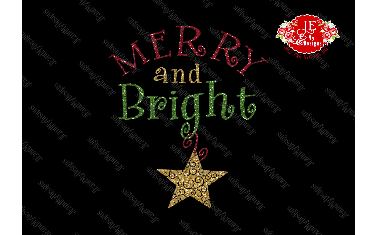 Merry and Bright SVG, JPEG, PNG, EPS, DXF example image 4