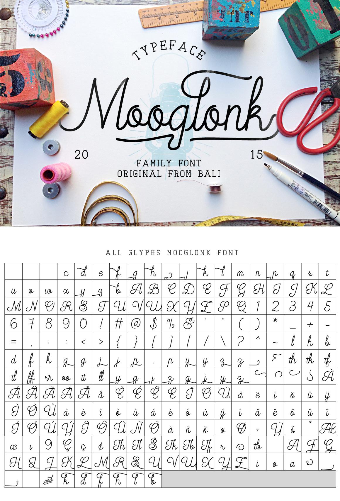 Mooglonk Font + Badges & Brush example image 1