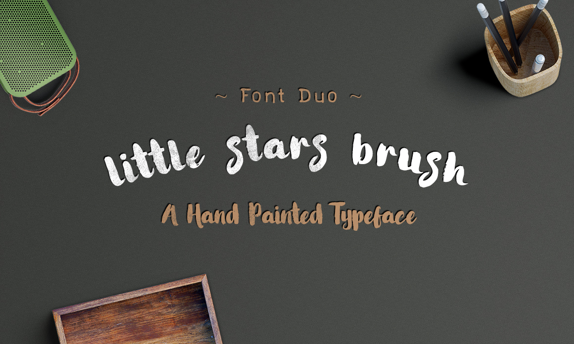 Little Stars Brush_ Font Duo example image 2