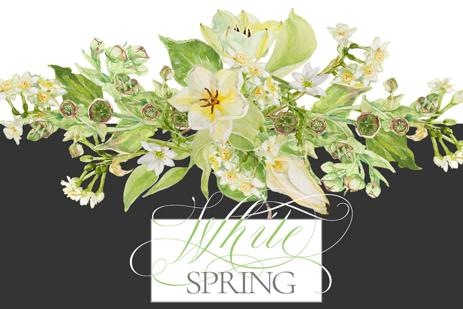 White Watercolor Bouquets & Wreaths example image 14