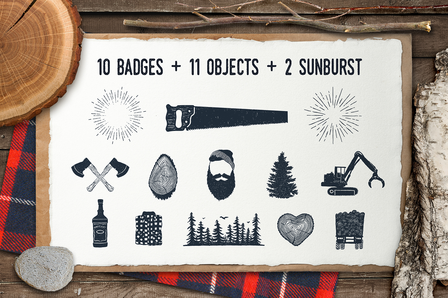 Lumberjack. Vintage Badges (part 2) example image 3