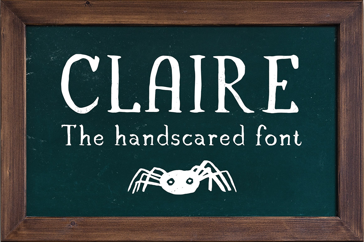 Claire - The handcrafted font + halloween illustration pack