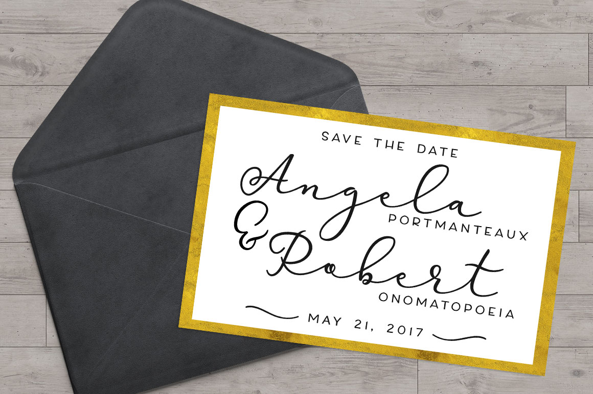Virga fonts: wedding save the date invitation card mockup