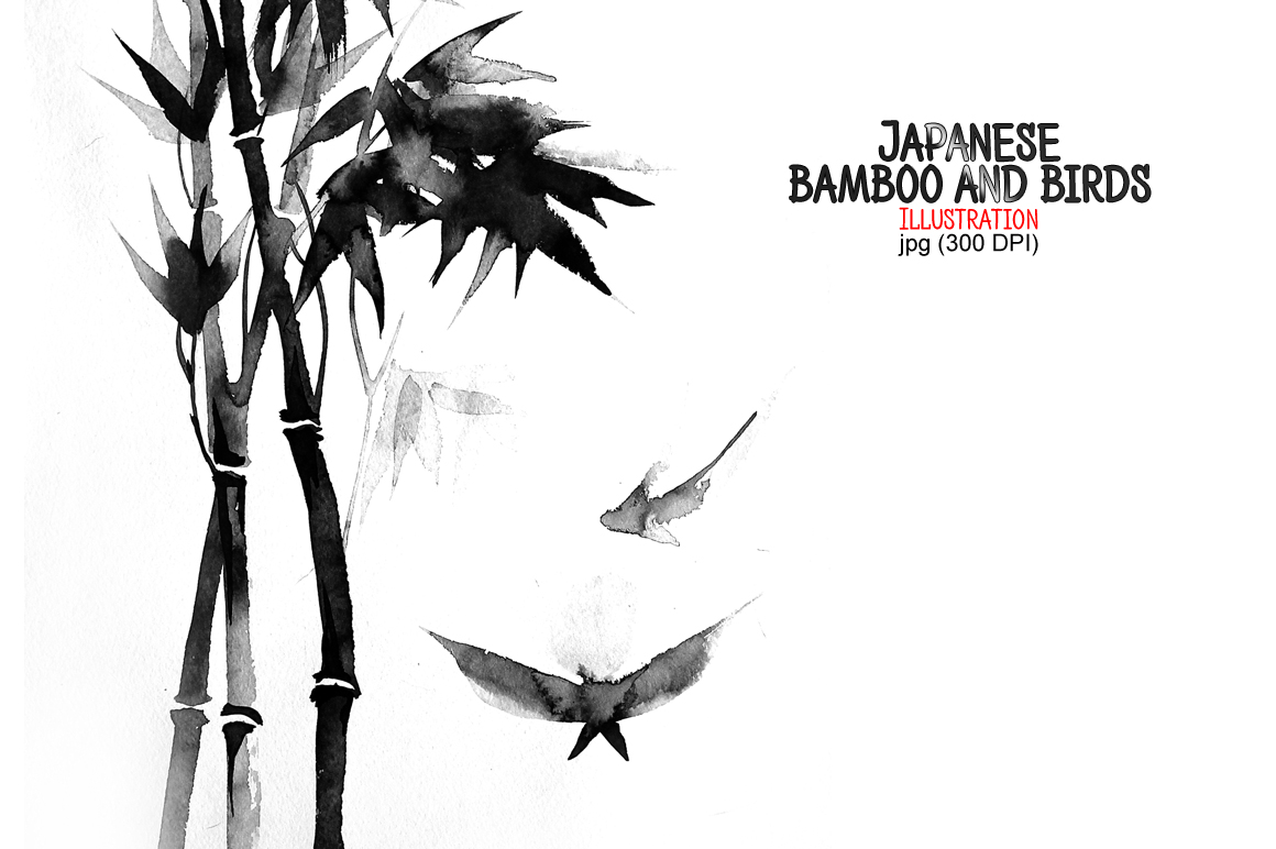 Japanese bamboo and birds example image 1