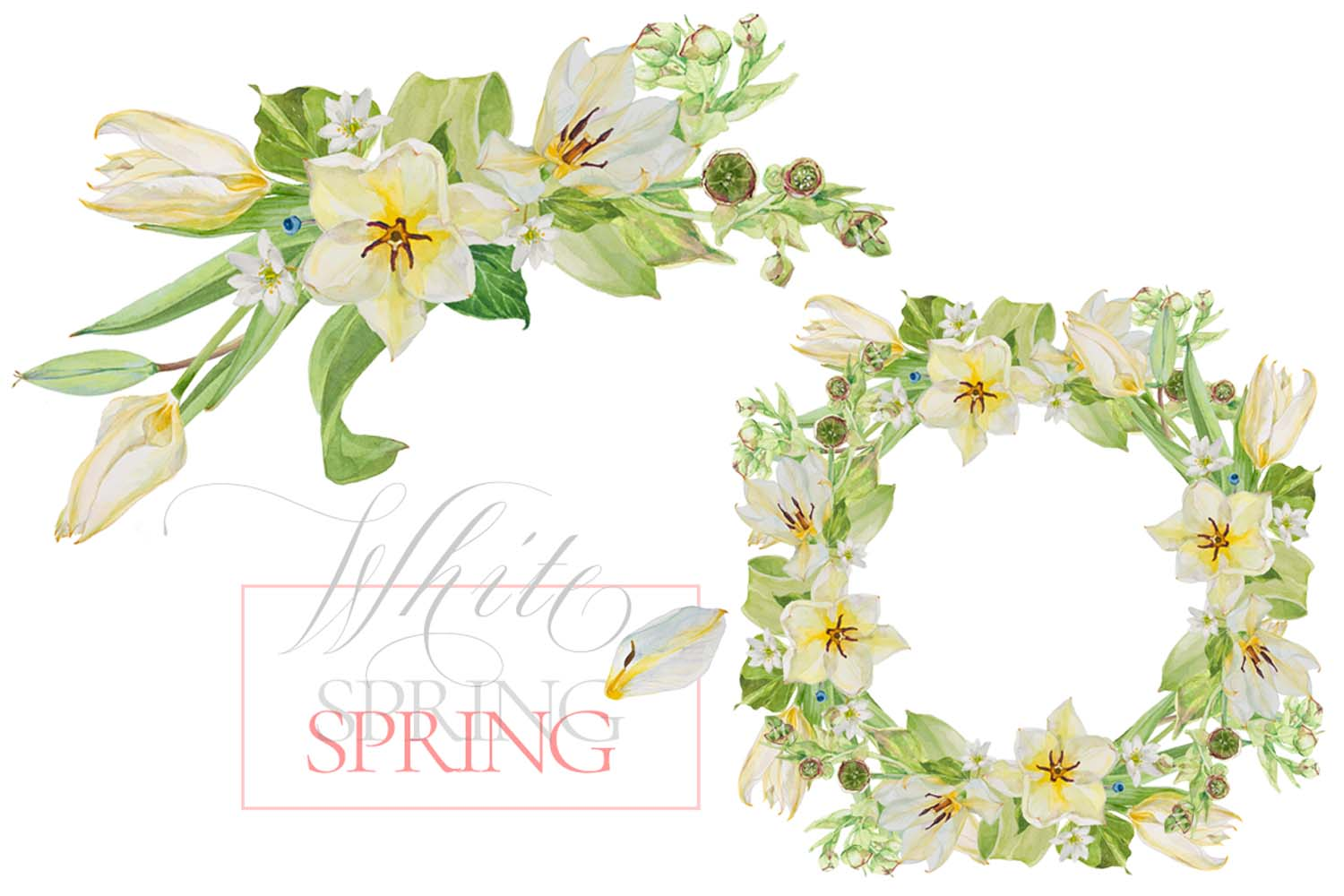 White Watercolor Bouquets & Wreaths example image 9