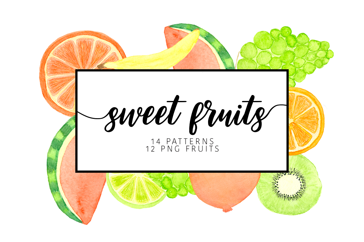 Watercolor sweet fruits example image 1