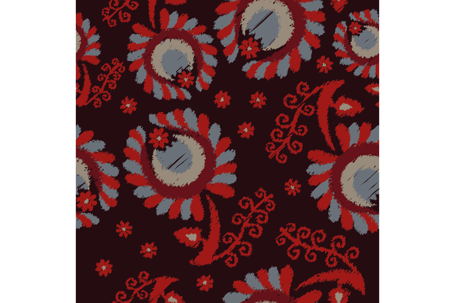 Set of 12 seamless pattern with decorative flowers.  example image 8