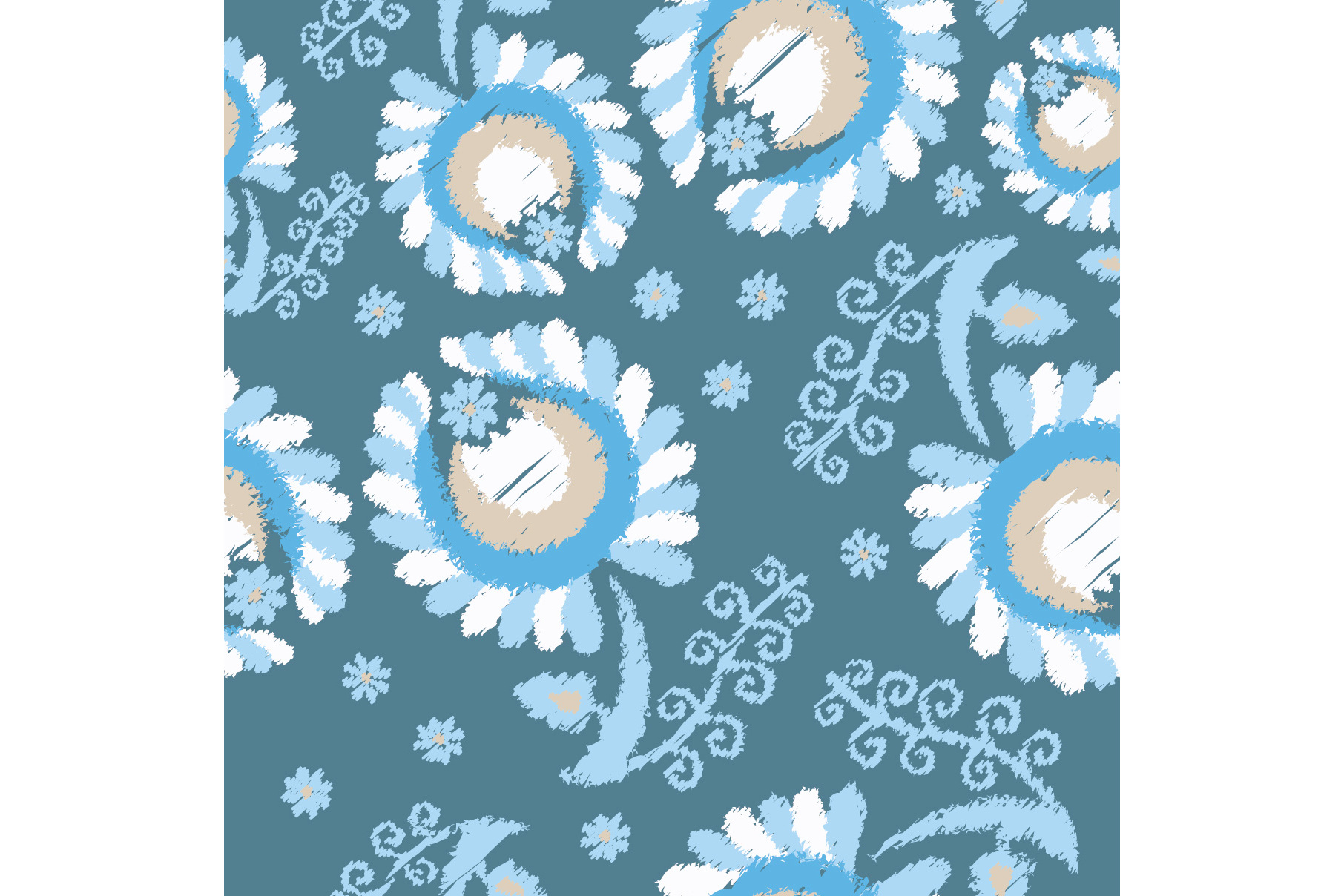 Set of 12 seamless pattern with decorative flowers.  example image 13