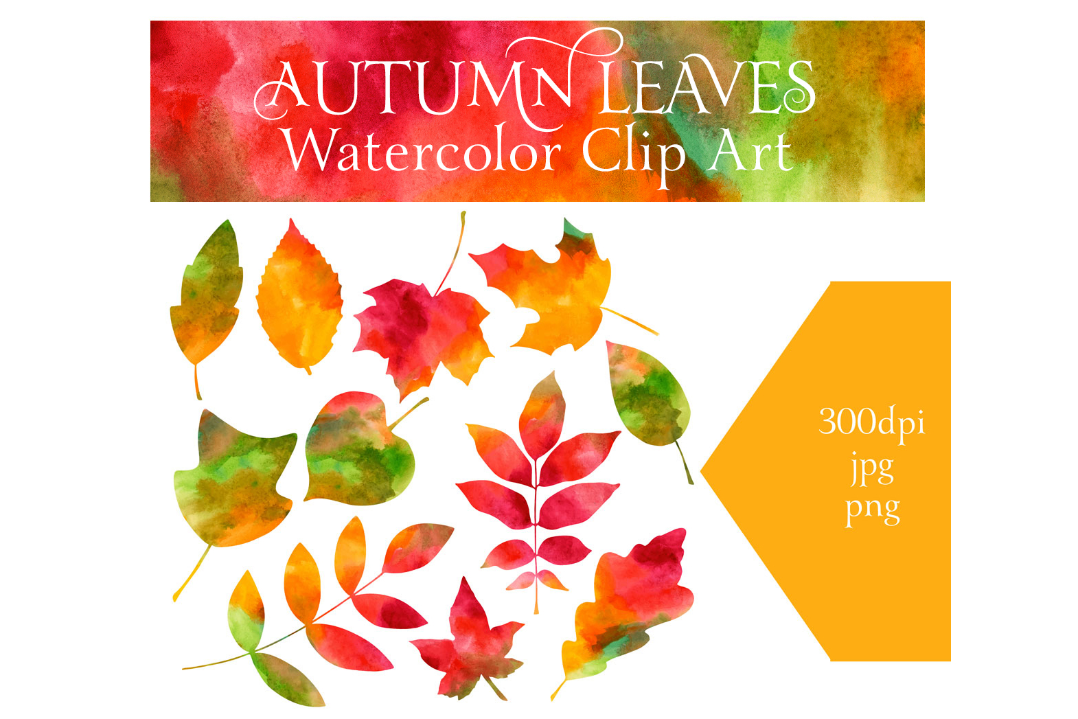 Watercolor Autumn Leaves example image 3