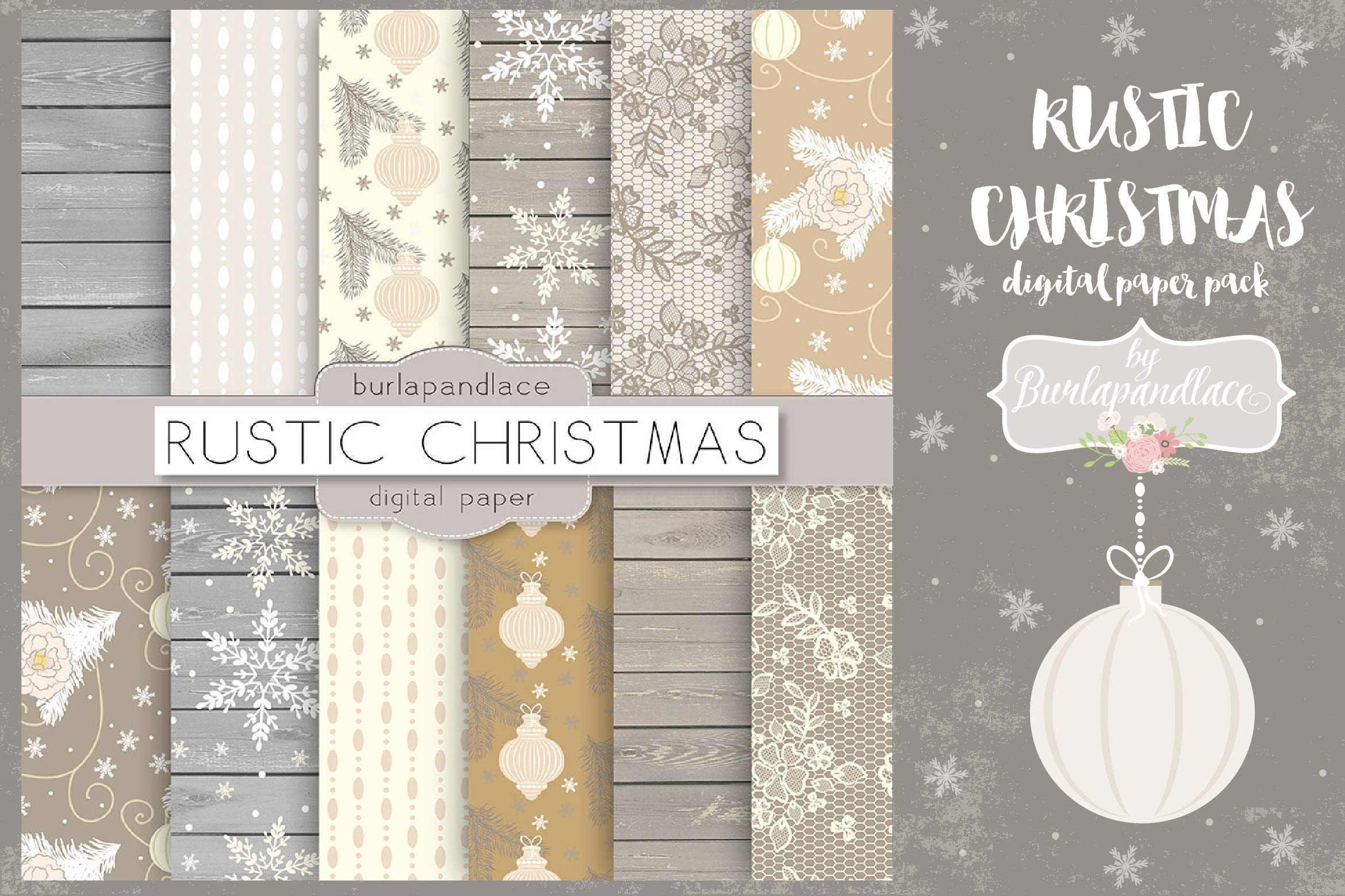 Vintage rustic floral christmas digital papers example image 1