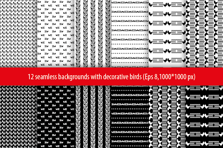 Set of 12 seamless vector backgrounds with decorative birds.  example image 2