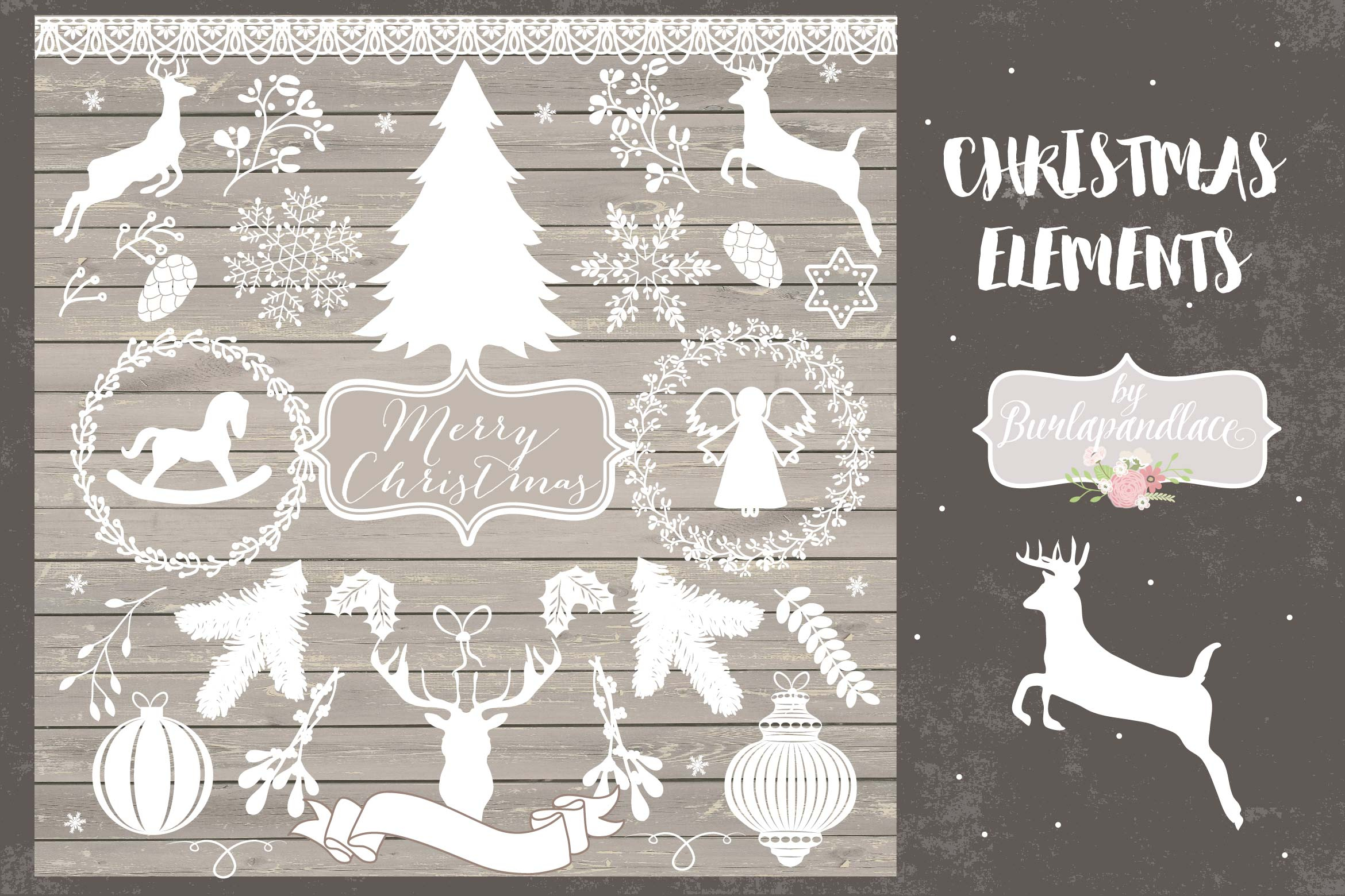 Vector white rustic hristmas Cliparts example image 1