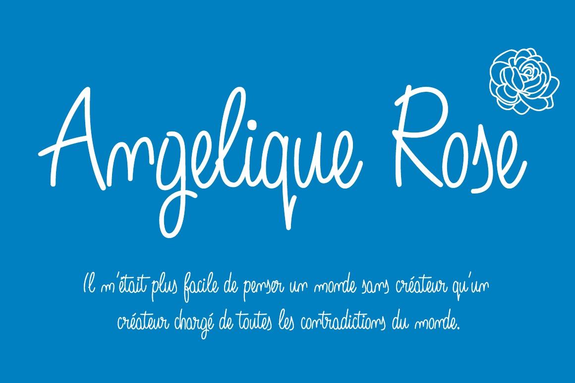 Angelique Rose Script font -blue background-