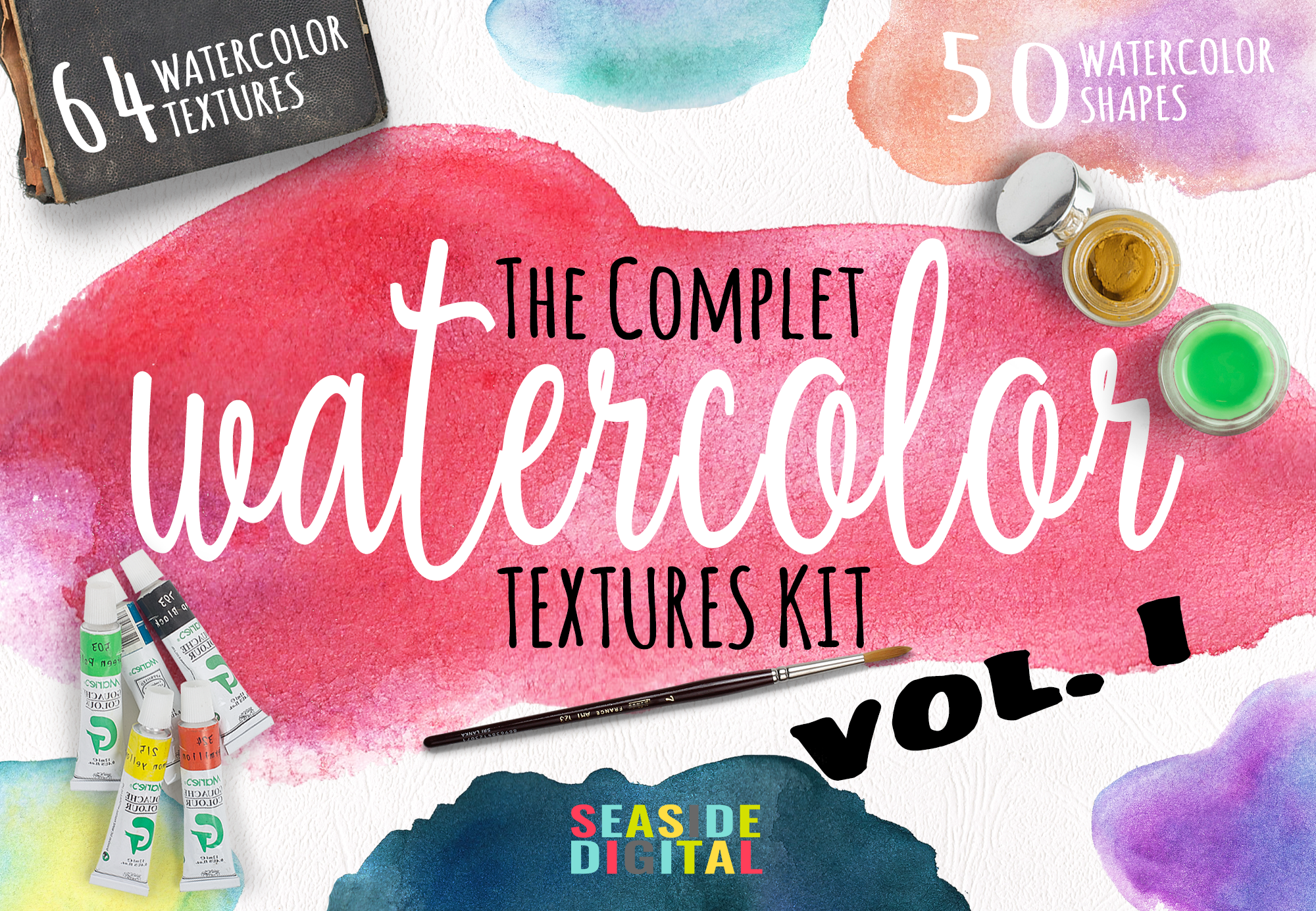 Complet Watercolor Textures Kit example image 1