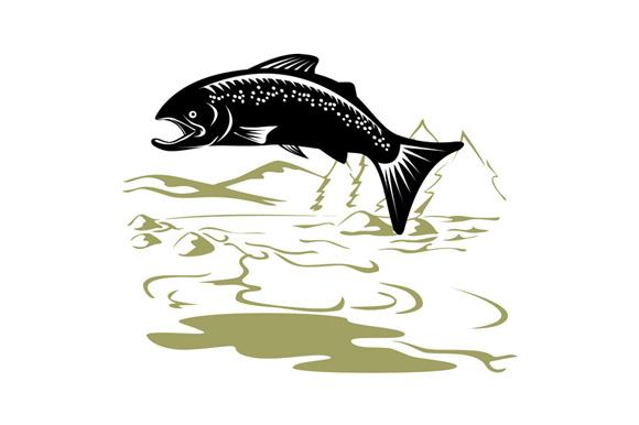 Salmon Fish Jumping Retro example image 2