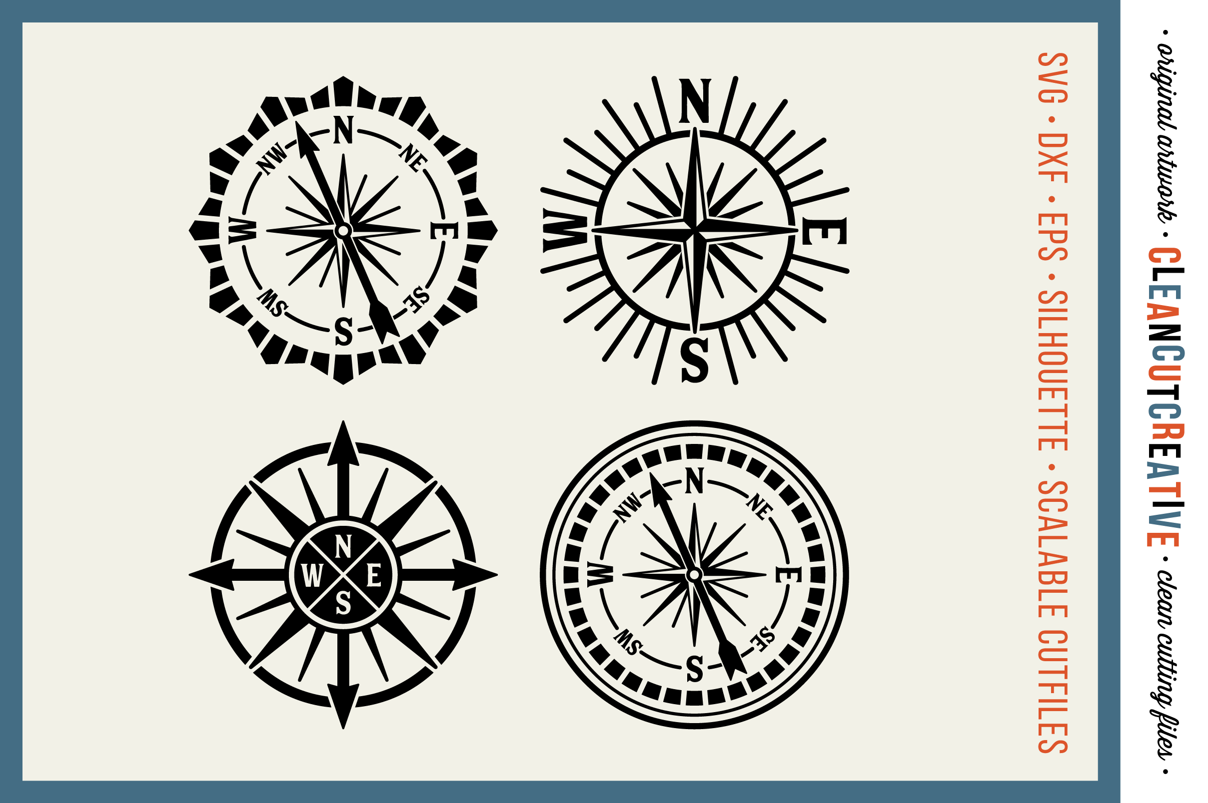 Set of 4 RETRO COMPASSES - SVG DXF EPS PNG - Cricut & Silhouette - clean cutting files example image 1