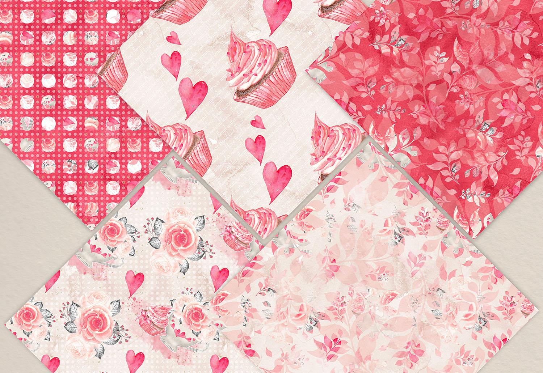 Watercolor Sweet Valentine digital paper pack example image 2