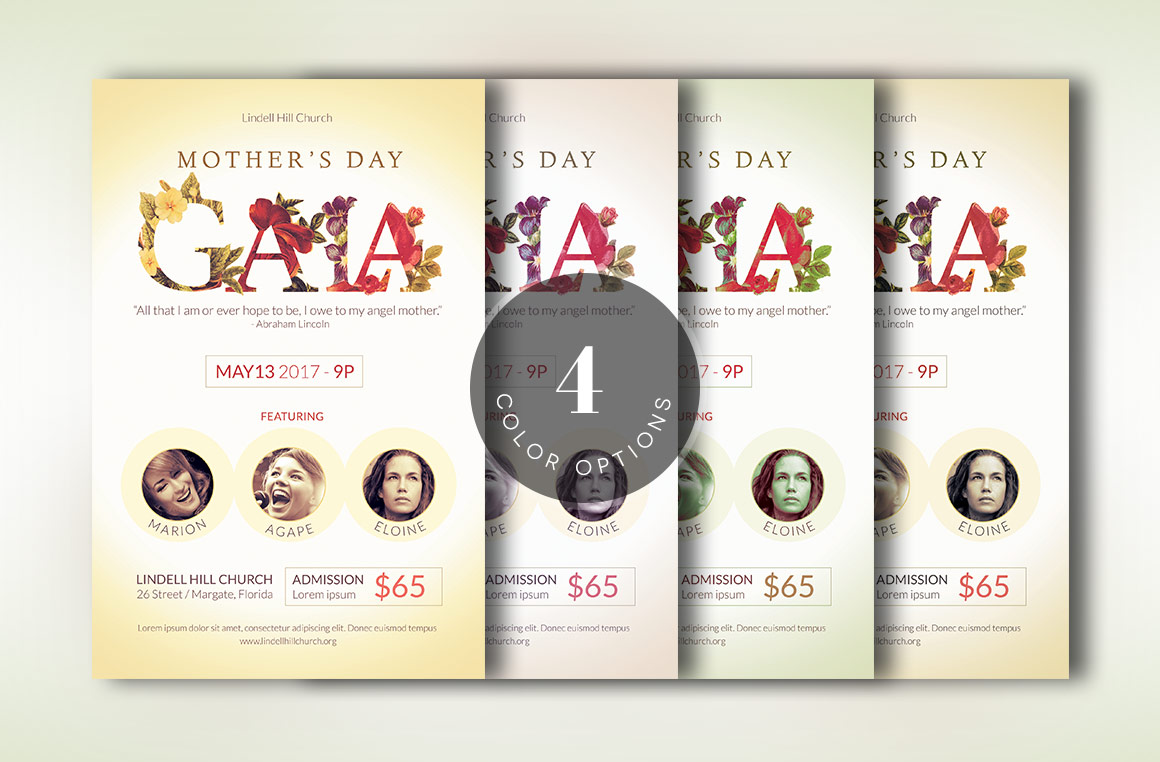 Mothers Day Gala Flyer Template example image 9