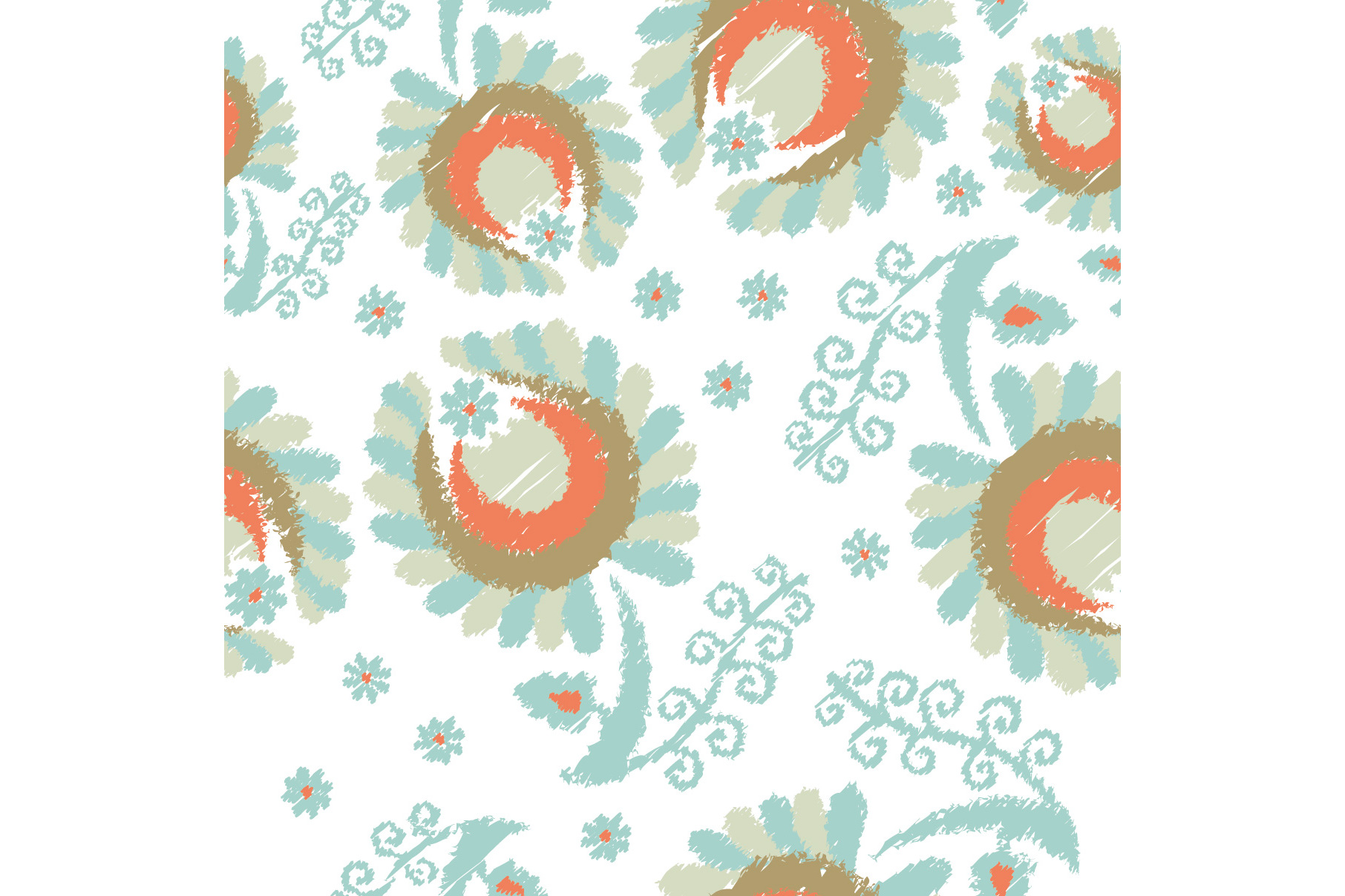 Set of 12 seamless pattern with decorative flowers.  example image 10