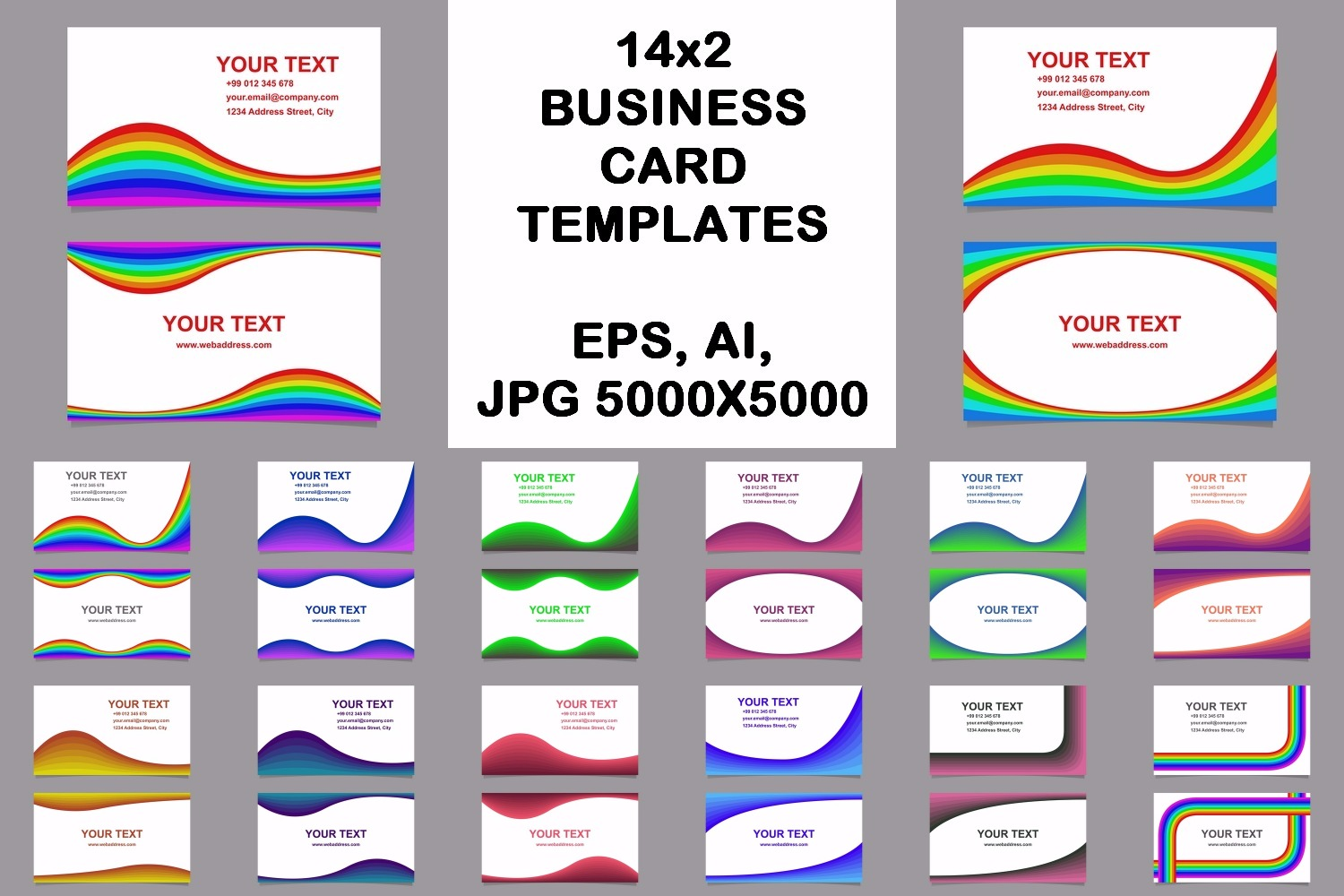 14x2 curved design business card templates (EPS, AI, JPG 5000x5000) example image 1
