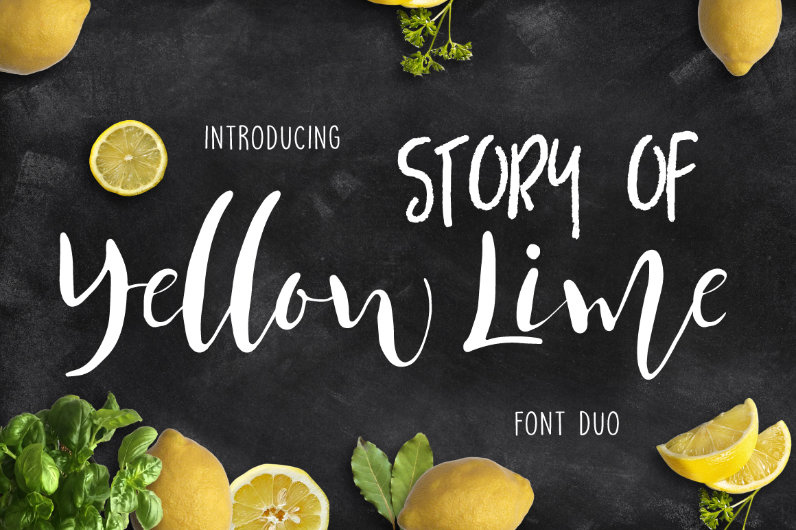 Yellow Lime Font Duo + Vector Doodle example image 3