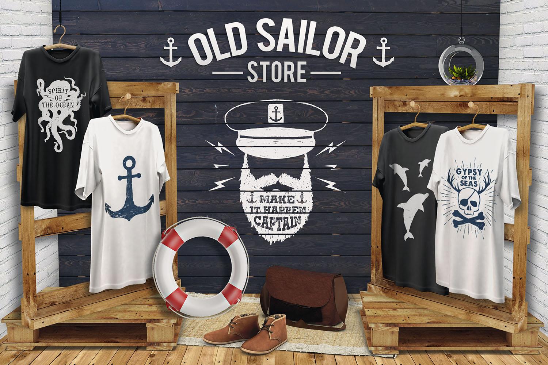 Old Sailor. Vintage Badges. Vol.1 example image 7