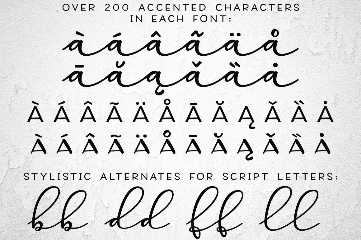 Virga fonts: accented characters and stylistic alternates