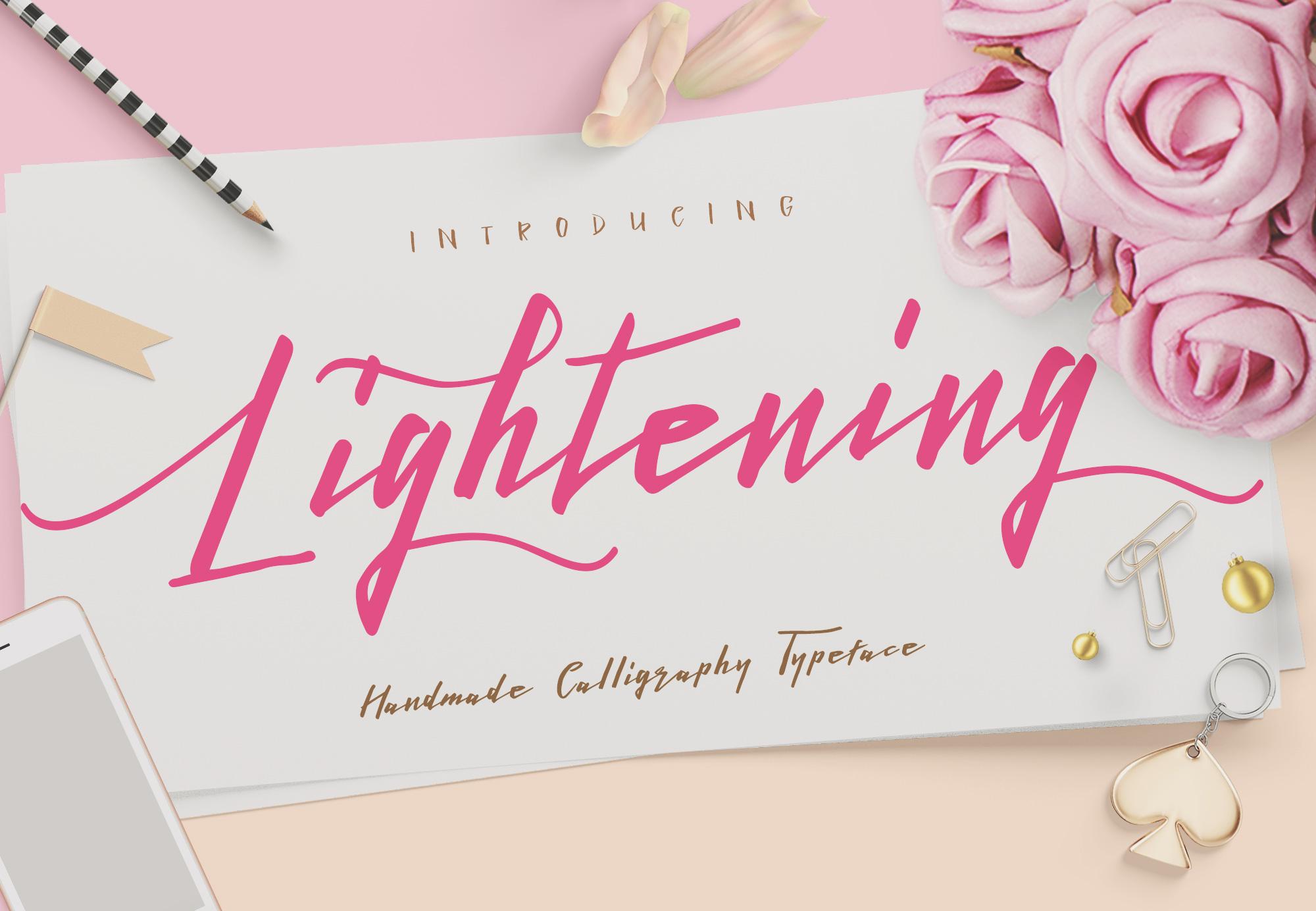 Lightening Script - Font Duo example image 1