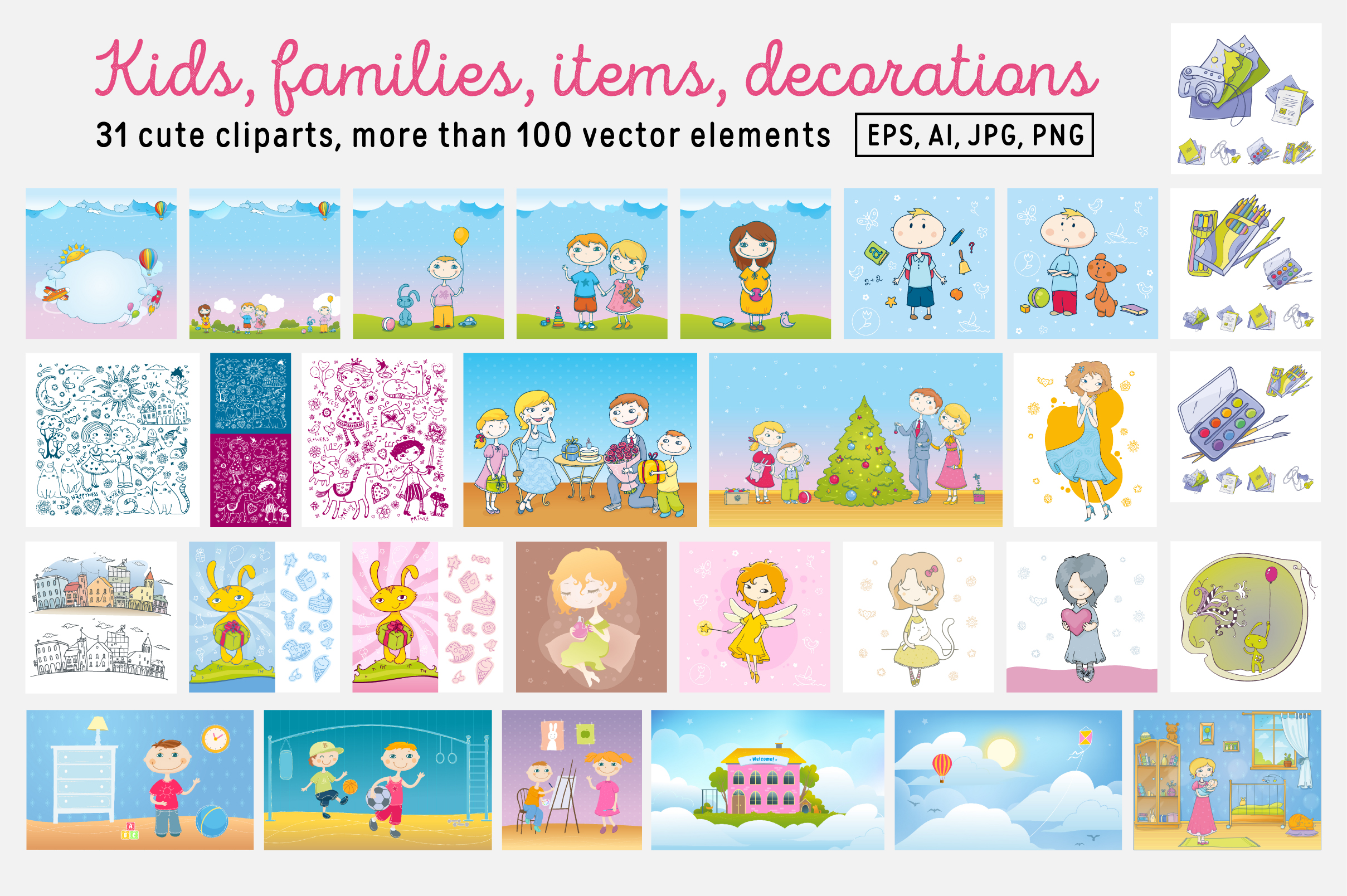 Kids and Families vector art example image 6