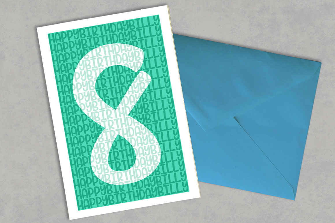 Candlepin monogram font: birthday greeting card mockup idea