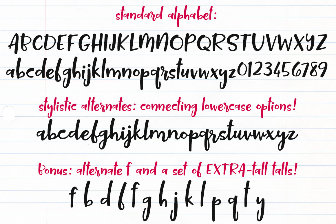 Tallsy Smalls: standard and alternate alphabets with extras