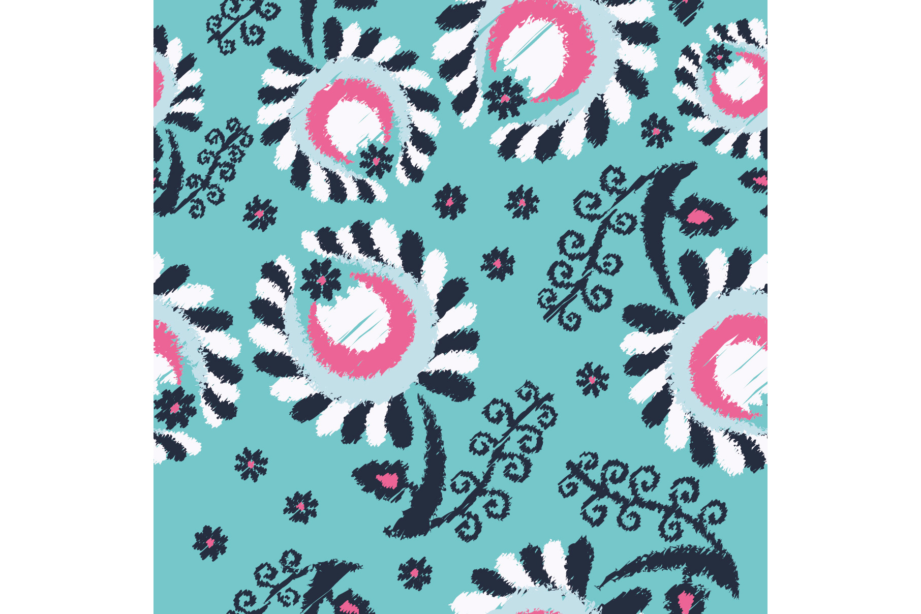 Set of 12 seamless pattern with decorative flowers.  example image 12
