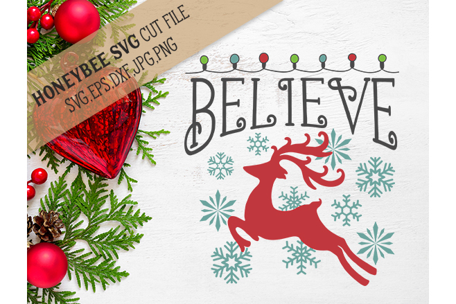 Believe Christmas Lights svg example image 1