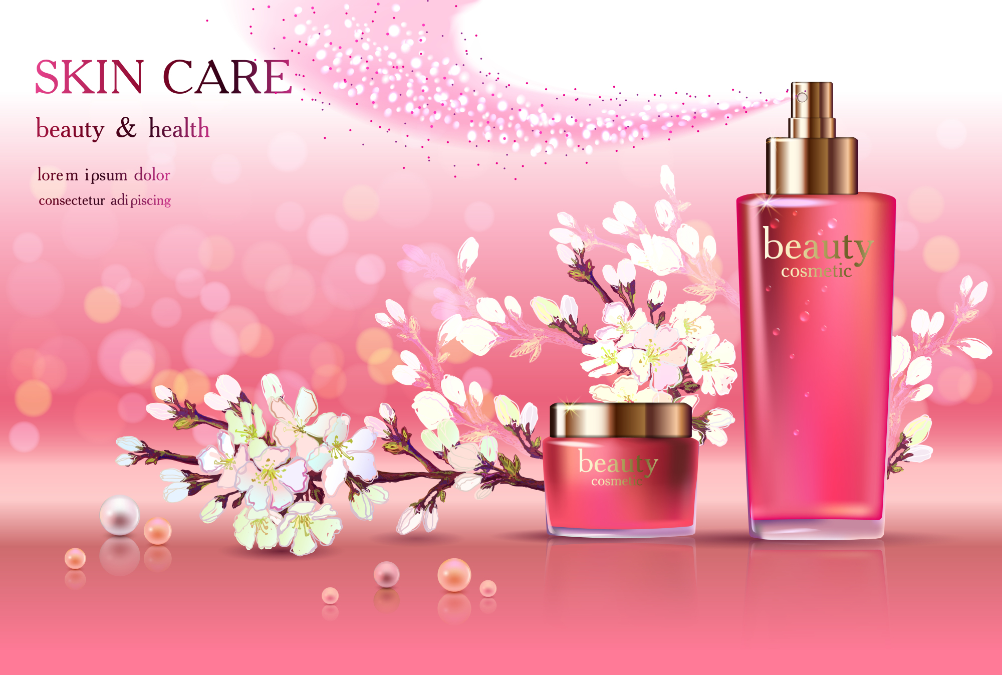 Cosmetic ads with cherry blossom (15866) | Branding ...